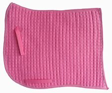 PRI Dressage Pad: Equu-Felt Quilted Swan-tail, Pink with metallic Silver Piping