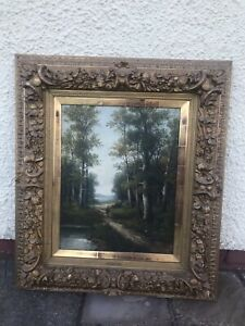 Antique Late 19th Century Oil Painting Signed - Gerold Baroque Gothic Gold Frame