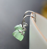 C06 Ohrring Lotusblüte aus grünem Opal Sterling Silber 925