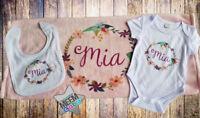 Personalised Baby Newborn Soft Baby/bib/blanket/bodysuit Girl Boy Unisex