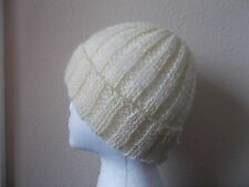 Hand knitted elegant and warm beanie/hat, mohair blend, creamy white