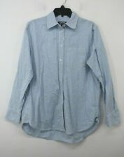 Lands End Women Pinstripe Embroidered Long Sleeve Button-Up Casual Shirt M 10-12