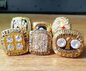 New Collection : 6 Pcs Pittsburgh Steelers Super Bowl Championship Ring All Size
