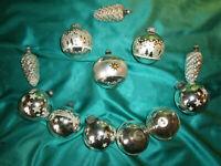 ~ 12 antike Christbaumkugeln Glas Zapfen silber weiß Stern alte Weihnachtskugeln