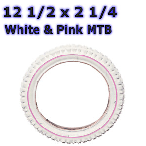 1 x White Tyre with Pink Line 12.5 x 2 1/4 Girls Bike Bicycle