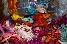 4oz Sari Silk Fabric Remnants/Scraps Mixed Media Felting Spinning Silk Paper