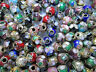50 x 5mm Mixed Colour Chinese Cloissone Round Enamelled & Brass Beads