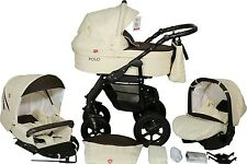 EcoLeather Pram Buggy 3in1 Stroller Pushchair Car Seat Carrycot Travel System