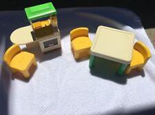 Vintage Little Tikes Dollhouse Furniture ~Kitchen Set~Table Chairs Kitchenette