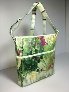 UK Handmade Cross-body Style Adjustable Lined Oilcloth Bags Floral Theme Fabrics