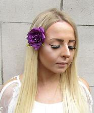 Dark Purple Rose Flower Hair Clip Rockabilly 1950s Festival Boho Vintage 1558