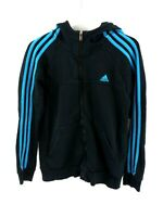 ADIDAS Boys Hoodie Jacket 13-14 Years Black Blue Cotton & Polyester