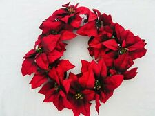"""Luxury Large Red Poinsettia Artificial Christmas Wreath 14"""" Across EX COND JC121"""