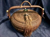 Large Antique Chinese Sewing Basket W/Handle Beads & Tassels