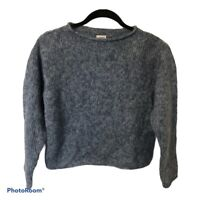 Margaret O'Leary hand knit blue mohair sweater size 1 (small)