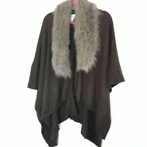 Gerard Brown Knitted Wrap Cape One Size Poncho Faux Fur Collar Shawl Lagenlook