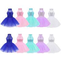 Girls Kids Sequined Ballet Dance Tutu Dress Gymnastics Leotard Dancewear Costume