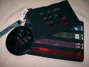NWT!!  VICTORIA'S SECRET COSMETIC BAGS-SET OF THREE (3) BAGS WITH SEQUINS TRIM