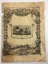 Antique 1877 Champion Harvester Farm Tool Plow Catalog Springfield Ohio