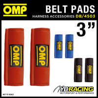 "DB/450/3"" OMP RACING HARNESS SEAT BELT PADS PAIR 3"" WIDTH in RED / BLACK / BLUE"