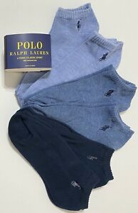 Polo Ralph Lauren Men's Athletic 6-Pair  Low Cut Socks Assorted Blues