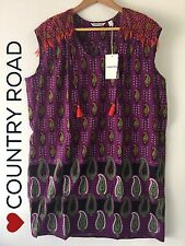 CR LOVE ❤️ NEW SZ S (10-12) COUNTRY ROAD EMBROIDERED TIE NECK SMOCK DRESS PURPLE
