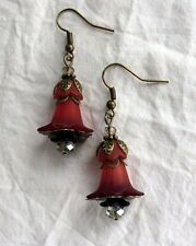Victorian Style Wine Red Black and Crystal Lucite Flower Bronze Dangle Earrings