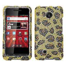 For Virgin Mobile PCD Chaser Crystal Diamond BLING Hard Case Phone Cover Leopard
