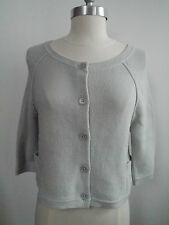 NEW INHABIT light gray cotton blend cardigan sweater size P XS