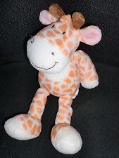 doudou peluche girafe blanche tâche orange NICOTOY 24cm