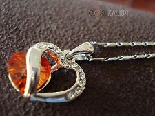 18K White Gold Plated Red Split Heart Crystal Swarovski Elements Necklace