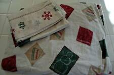 Flannel SNOW FUN Snowman Hat Mitten Skis TWIN Sheet Set _ Cute Clean EUC