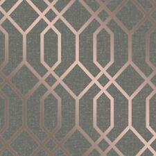 Quarz Spalier Geometrisch Metallische Tapeten Kupfer / Dunkelgrau Fine Decor
