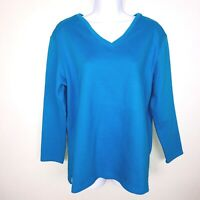 Basic Editions Womens Top sz L Blue White Casual Scoop Neck Textured MW37
