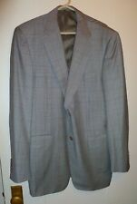 Canali Blue Orange & Black Houndstooth Plaid Virgin Wool Blazer Size 42L