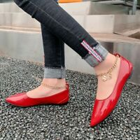Womens Comfort Pointed Toe Flats Patent Leather Brogue Casual Lady Non-slip Shoe