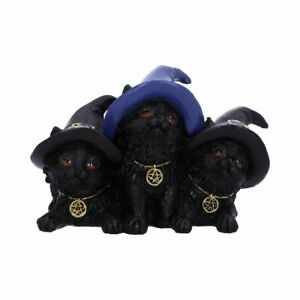 Familiar Felines 9.8cm Cat Figurine Art Ornament Sculpture kitty cats witchy gif