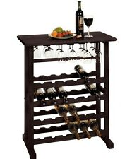 Buffet Table With Wine Rack Cabinet Server Wine Glass Hanger 24 Bottle Storage