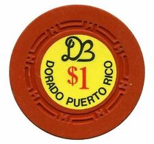 $1 Old DORADO BEACH Hotel Casino RED clay poker Chip Puerto Rico H mold DBE1D