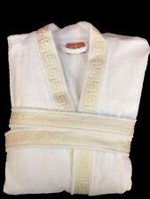 Mäander Bademantel 100% Baumwolle Meander Medusa Weiß Hellgold Kimono versac