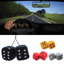 Zone Tech Soft Fluffy Furry Car Home Hanging Mirror Spotty Dice Plush Xmas Gift