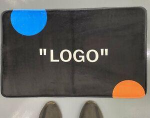 Off-White style 'LOGO' SneakerMat Super Soft Rug - Black orange & blue