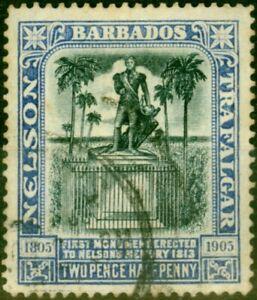 Barbados 1907 2 1/2d Black & Bright Blue SG162 Fine Used