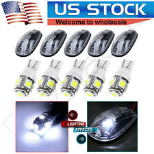 5pcs Top Cab Roof T10 White Led Lights + Clear Marker Running Lamps Cover+ Base
