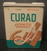 Vintage Curad Plastic Bandages W/Telfa Pad Embossed Front Metal Tin BoxBandages