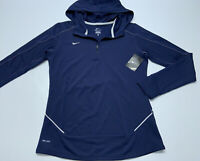 Womens Nike Dri Fit 1/4 Zip Long Sleeve Hoodie  Navy Blue Size Medium Brand New