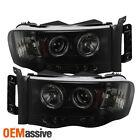For 02-05 Ram 1500 03-05 Ram 2500 3500 Black Smoked Halo Projector Headlights