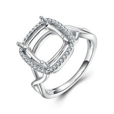 Semi Mount Cushion 10x10mm Real SI/H Diamonds Sterling Silver Anniversary Ring