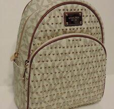 New micahel kors small jet set item splash studded logo Vanilla PVC backpack bag