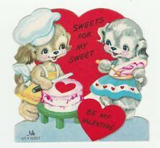 Vintage Valentine Card Dressed Dogs Bake Cake 1950's Die-Cut Cac